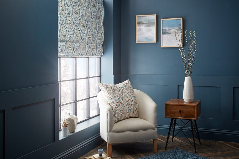 ROMAN BLINDS -Arabesque-in-Teal-roman